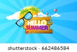 hello summer abstract vector... | Shutterstock .eps vector #662486584