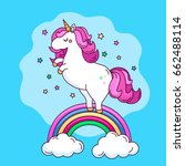 a funny unicorn character on... | Shutterstock .eps vector #662488114
