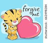 cute cartoon tiger with heart...   Shutterstock .eps vector #662498284