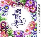 wildflower viola flower frame... | Shutterstock . vector #662498869