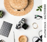 stylish summer accessories for... | Shutterstock . vector #662500888