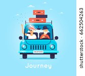 old people are traveling by car.... | Shutterstock .eps vector #662504263