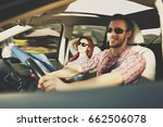 summer car trip and two lovers  | Shutterstock . vector #662506078