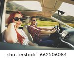 summer car trip and two lovers  | Shutterstock . vector #662506084