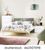 interior of white cozy bedroom. ... | Shutterstock . vector #662507098