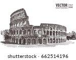 roman colosseum. rome  italy ... | Shutterstock .eps vector #662514196