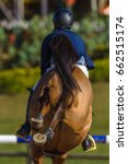 Rider Horse Jump Rear Hoofs...