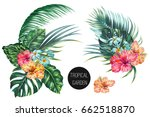tropical flowers  palm leaves ... | Shutterstock .eps vector #662518870
