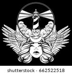 vector hand drawn illustration... | Shutterstock .eps vector #662522518