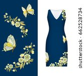 vector embroidery  floral... | Shutterstock .eps vector #662528734