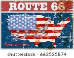 grungy route sixty six road map ... | Shutterstock .eps vector #662535874