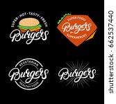 set burgers hand written... | Shutterstock .eps vector #662537440