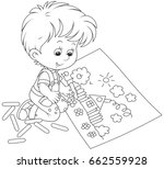 little boy drawing  | Shutterstock .eps vector #662559928