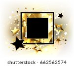 square black banner with a gold