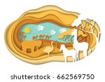paper art carving with... | Shutterstock .eps vector #662569750
