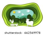 paper art carving with green... | Shutterstock .eps vector #662569978