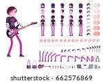 emo girl character creation set ... | Shutterstock .eps vector #662576869