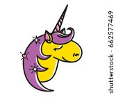 vector icon of cute unicorn... | Shutterstock .eps vector #662577469