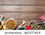 Stock photo pet accessories food toy top view 662577619