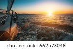 slide sailing yacht through the ... | Shutterstock . vector #662578048