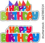 colorful lettering happy... | Shutterstock .eps vector #662580214