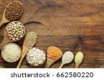 different types of cereals in... | Shutterstock . vector #662580220