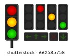 set of led traffic lights with...