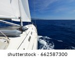 luxury yacht at sea race.... | Shutterstock . vector #662587300
