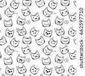 hand drawn cute kawaii cat... | Shutterstock .eps vector #662597710