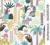 seamless pattern with jungle... | Shutterstock .eps vector #662600158