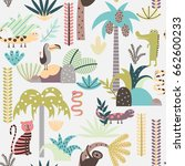 seamless background with jungle ... | Shutterstock .eps vector #662600233