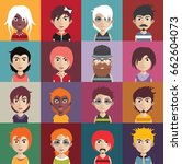 set of people avatars with faces | Shutterstock .eps vector #662604073
