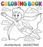 coloring book super hero boy... | Shutterstock .eps vector #662607964