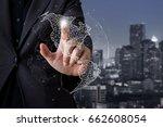businessman touching global...   Shutterstock . vector #662608054