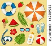 set of vector summer elements... | Shutterstock .eps vector #662609353