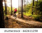 sunset rider in woods. mountain ... | Shutterstock . vector #662611258