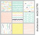 hand drawn pattern collection.... | Shutterstock .eps vector #662613790