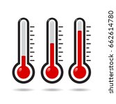 thermometer icon set | Shutterstock .eps vector #662614780