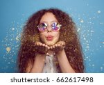 young curly girl in crystal... | Shutterstock . vector #662617498