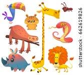 cartoon of african animals.... | Shutterstock .eps vector #662619826
