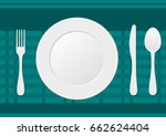 fork  knife  spoon and plate on ... | Shutterstock .eps vector #662624404