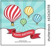 flat design  hot air balloon in ... | Shutterstock .eps vector #662626558