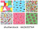 collection of colorful seamless ... | Shutterstock .eps vector #662633764