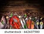 fresh tasty seafood served on... | Shutterstock . vector #662637580
