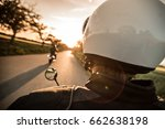 man riding sportster motorcycle ... | Shutterstock . vector #662638198
