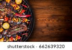 barbecue garden grill with beef ... | Shutterstock . vector #662639320
