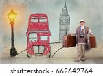 happy senior woman with luggage ... | Shutterstock . vector #662642764