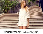 fashionable blonde woman in a... | Shutterstock . vector #662649604