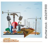process of construction of... | Shutterstock .eps vector #662659300