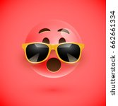 red 3d emoticon with sunglasses ... | Shutterstock .eps vector #662661334